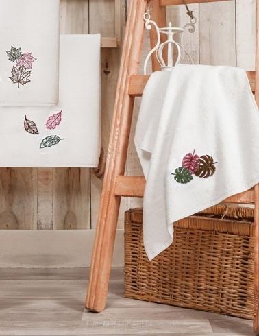 Nakkısh 50X90 Nakışlı 3'Lü Havlu Seti-Yaprak Renkli